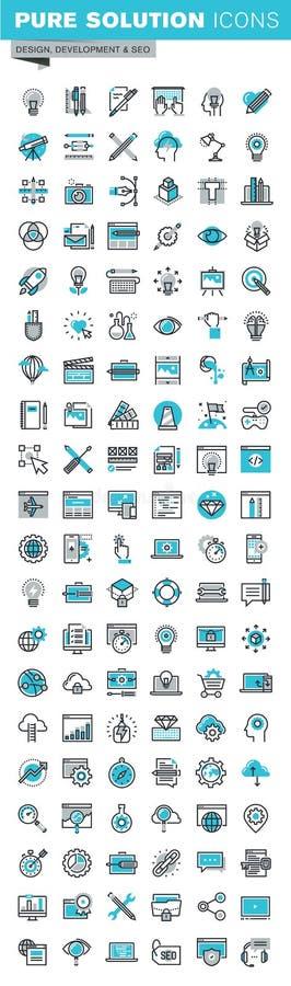 A linha fina moderna ícones ajustou-se do desenvolvimento do projeto gráfico, do app e do Web site ilustração stock