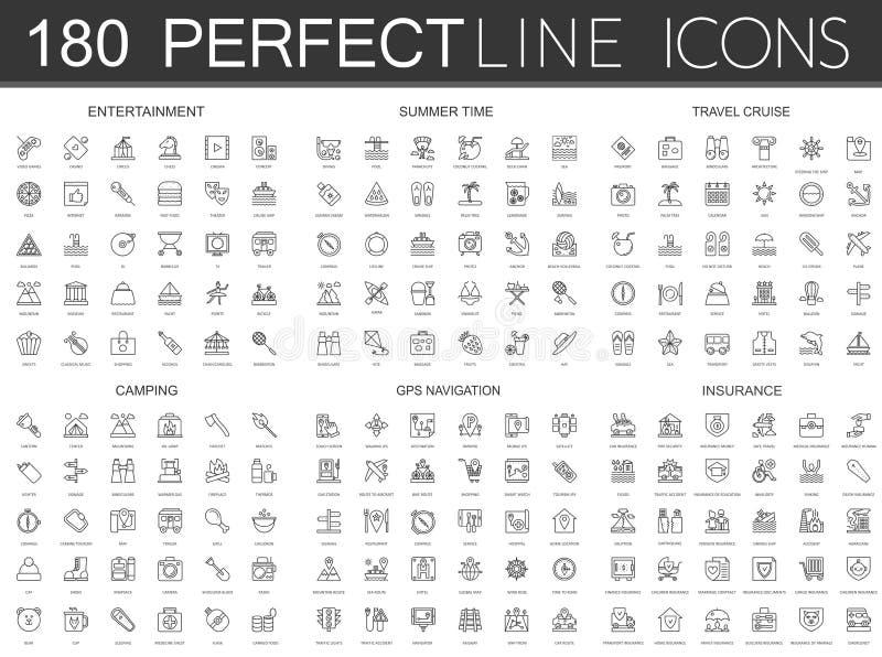 180 a linha fina moderna ícones ajustou-se do entretenimento, horas de verão, cruzeiro do curso, acampando, navegação dos gps, se ilustração stock