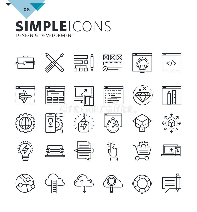 Linha fina moderna ícones de projeto e de desenvolvimento ilustração royalty free