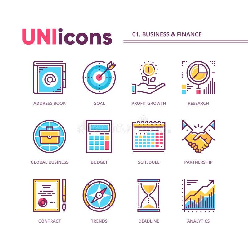 Linha fina moderna coleção dos ícones do negócio e da finança Cores globais Bloco do vetor para gráficos ou cópia da Web ilustração royalty free