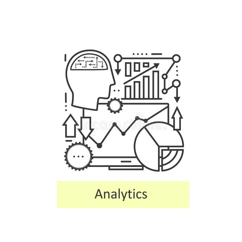 Linha fina moderna de analítica dos ícones ilustração royalty free