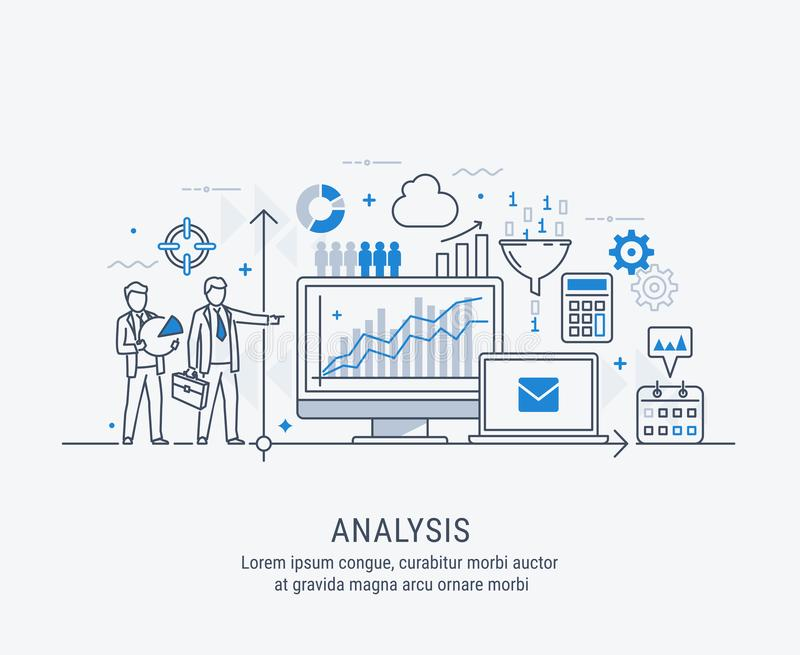 Linha fina moderna projeto para a bandeira do Web site da análise Conceito da ilustração do vetor para a análise de negócio ilustração stock