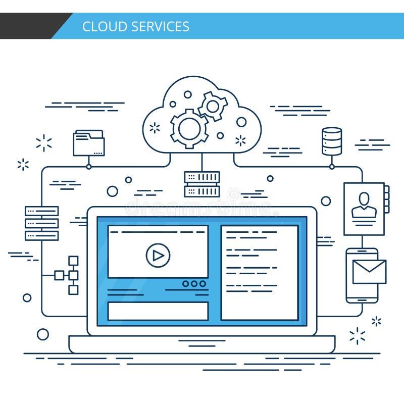 Linha fina moderna serviços da nuvem do projeto Vetor superior da qualidade ilustração stock