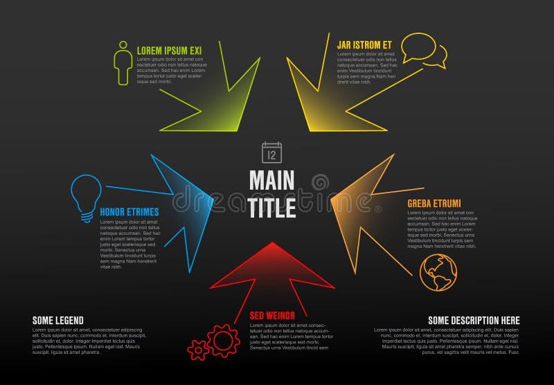 Linha fina molde do infographics com setas coloridas ilustração royalty free