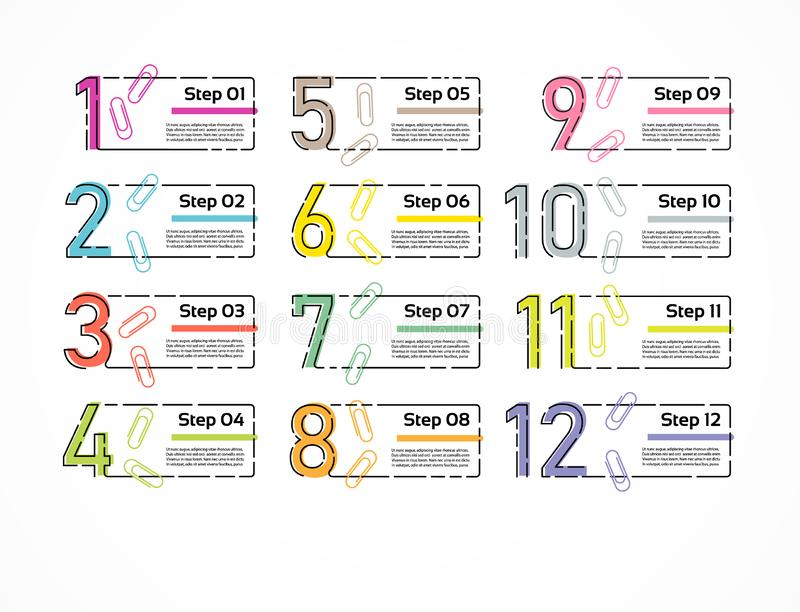 Linha fina molde mínimo do projeto de Infographic 12 opções, etapas Pode ser usado para o diagrama do processo, apresentações, di ilustração do vetor