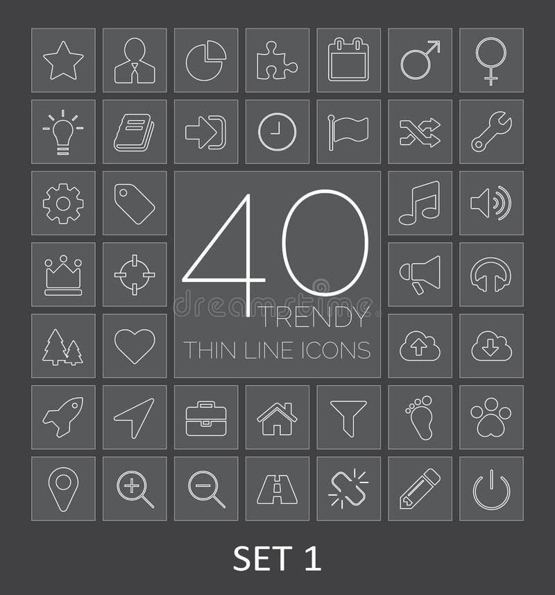 40 linha fina na moda ícones para a Web e o móbil Grupo 1 ilustração stock