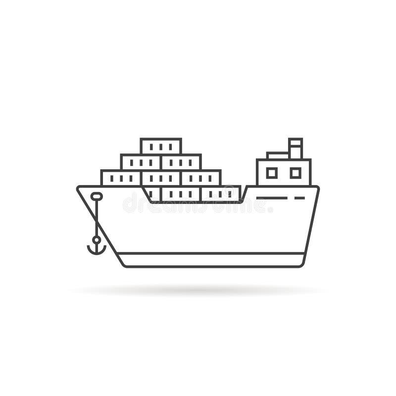 Linha fina navio de carga com sombra ilustração royalty free