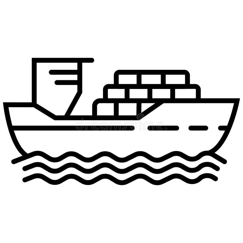 Linha fina navio de carga com sombra conceito do emblema do porto, voy ilustração do vetor