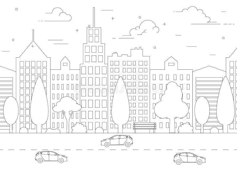 Linha fina paisagem da cidade ilustração stock