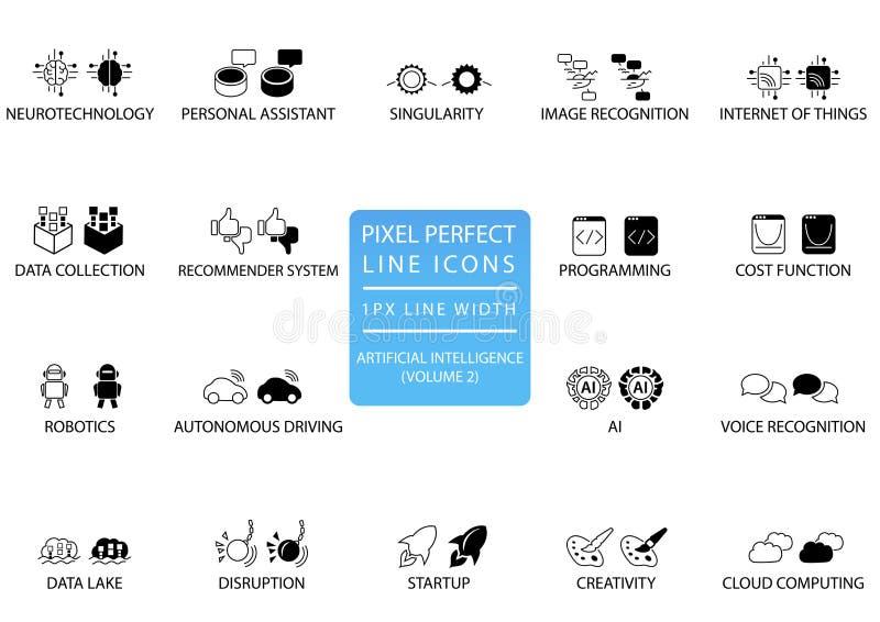 Linha fina perfeita ícones do pixel e grupo de símbolos para a inteligência artificial/AI ilustração royalty free