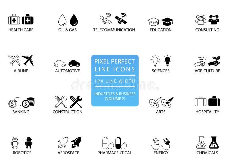 A linha fina perfeita ícones e símbolos do pixel de vários indústrias/setores empresariais gosta de telecomunicações, produtos qu ilustração stock