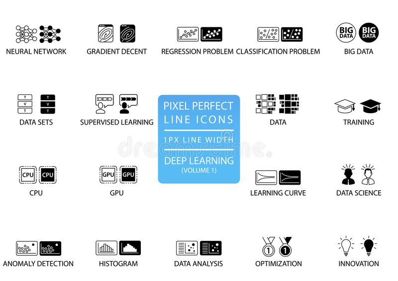 Linha fina perfeita ícones e símbolos do pixel para profundamente aprender ilustração do vetor