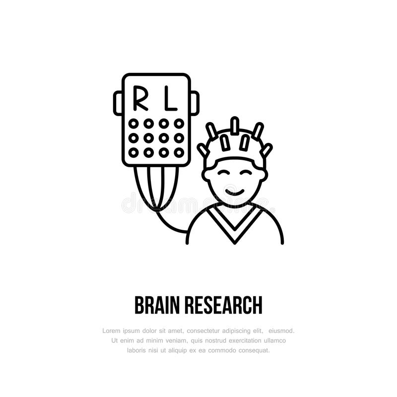 Linha fina pesquisa do vetor do cérebro do ícone Hospital, logotipo linear da clínica Símbolo do encefalogram do esboço, equipame ilustração royalty free