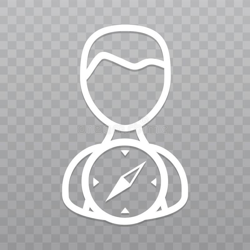 Linha fina pessoa com ícone do compasso Sentido do achado no fundo transparente ilustração stock