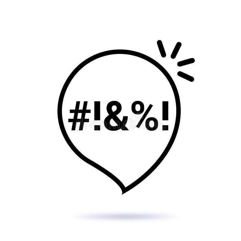 A linha fina preta jura o ícone da bolha Projeto gráfico da arte isolado no branco ilustração stock