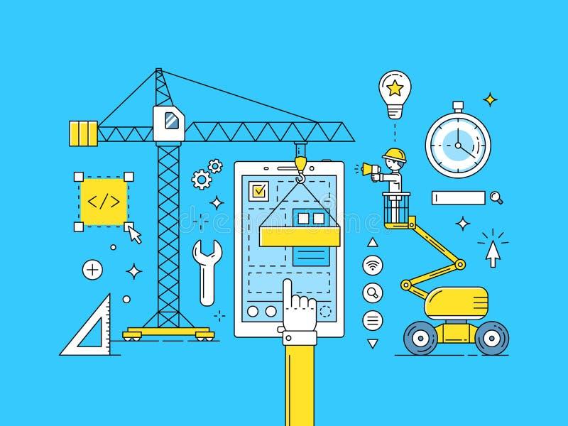 Linha fina processo de UI UX de desenvolvimento móvel do app ilustração royalty free