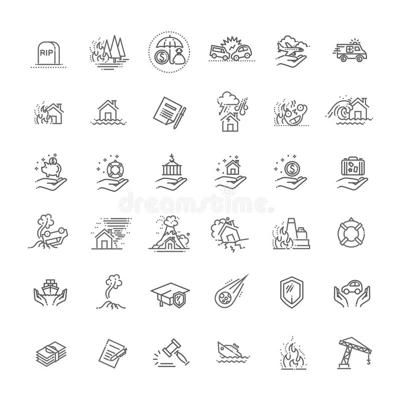 Linha fina projeto ajustado do ícone do seguro dos serviços de assistência para a Web e o App ilustração royalty free