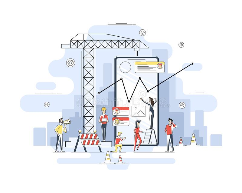 Linha fina projeto liso do canteiro de obras móvel do app, processo de construção da interface de usuário do smartphone, codifica imagem de stock