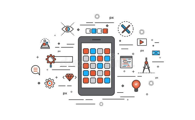 Linha fina projeto liso do desenvolvimento de Apps ilustração stock