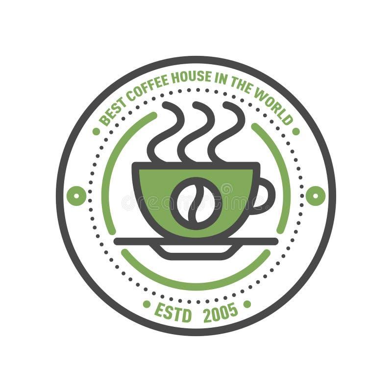 Linha fina rotulação do projeto do alimento do logotipo do crachá do café para o restaurante, a casa do café do menu do café e a  ilustração royalty free
