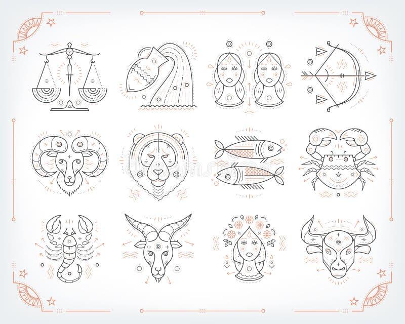Linha fina símbolos zodiacal do vetor Astrologia, sinal do horóscopo, elementos do projeto gráfico, imprimindo o molde vintage ilustração royalty free