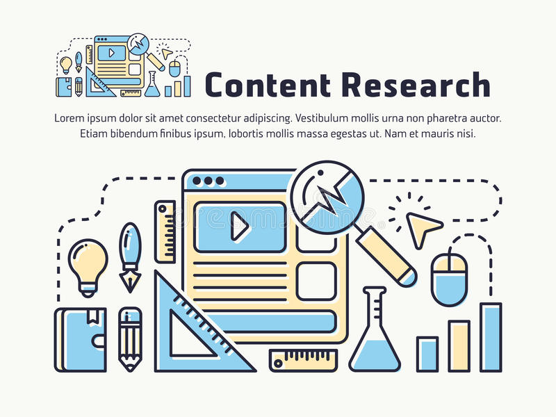 Linha fina satisfeita projeto da pesquisa de mercado do ícone ilustração stock
