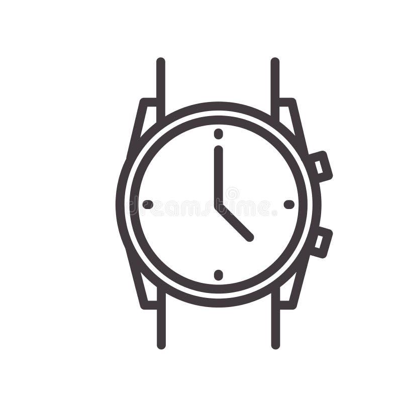 Linha fina simples ícone de um relógio de pulso Ilustração do vetor de um pulso de disparo do relógio para conceitos do tempo, ne ilustração royalty free