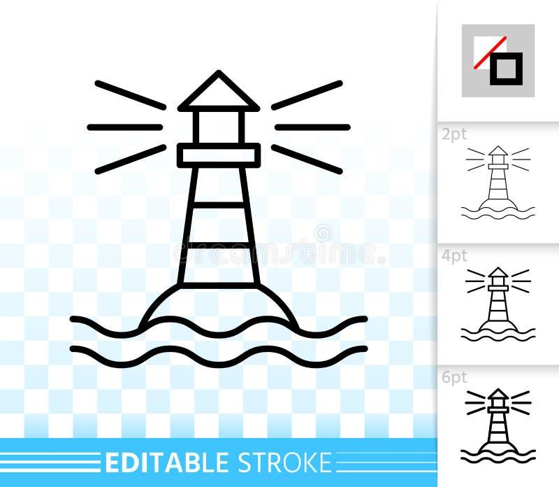 Linha fina simples ícone do farol do vetor da navegação ilustração stock
