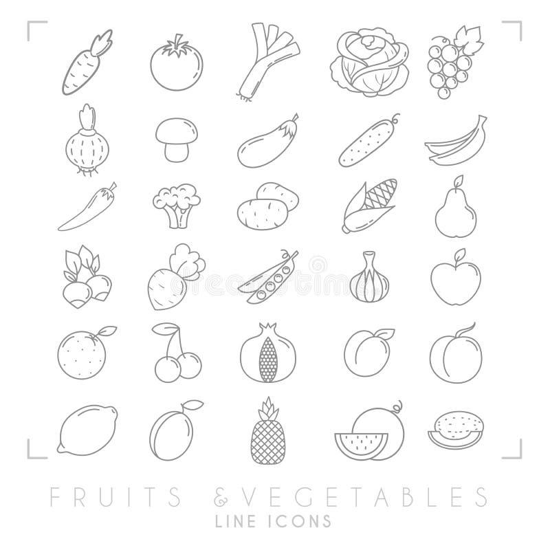 Linha fina simples na moda grupo grande dos ícones das frutas e legumes Saudável ilustração stock