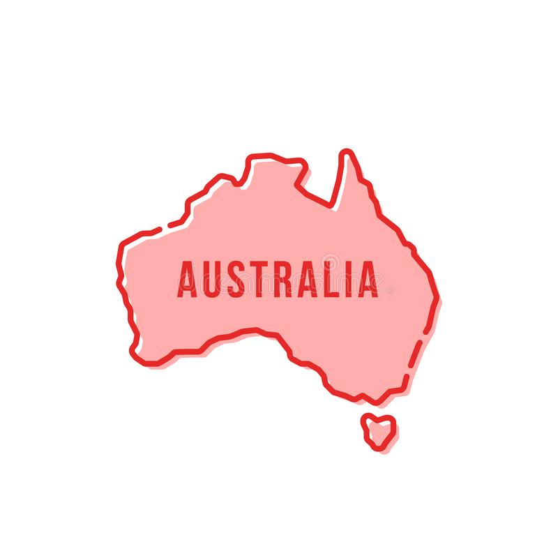 Linha fina simples vermelha ícone dos desenhos animados de Austrália ilustração stock