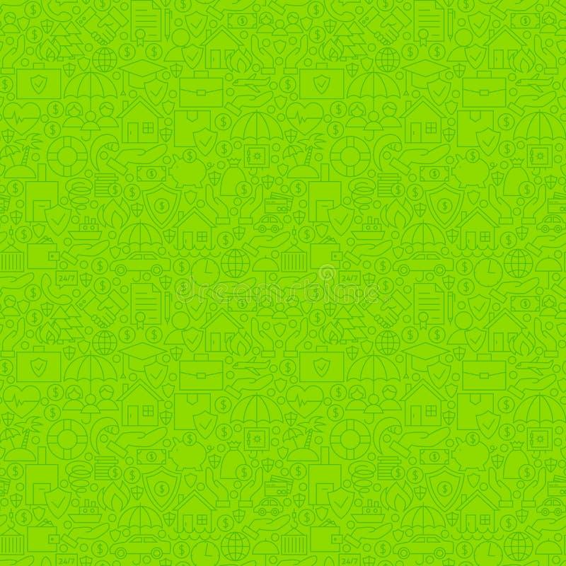 Linha fina verde teste padrão sem emenda do seguro ilustração do vetor