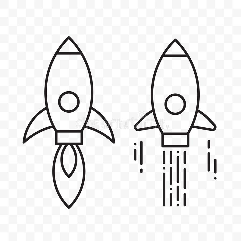 A linha fina vetor de Rocket começa acima os ícones do projeto ajustados ilustração royalty free