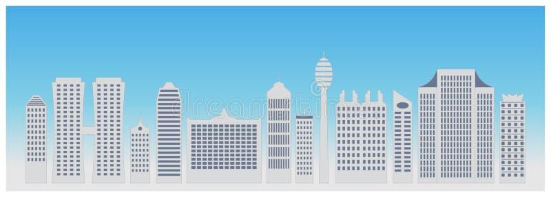 Linha fina vista das construções da cidade Silhueta do centro com arranha-céus altos Construções urbanas da arquitetura ilustração do vetor
