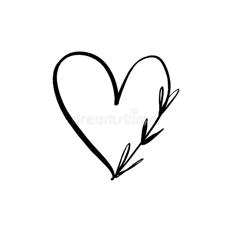 Linha floral clipart minimalistic do vetor do logotipo do coração Elemento do projeto para o florista, o florista, os produtos do ilustração royalty free