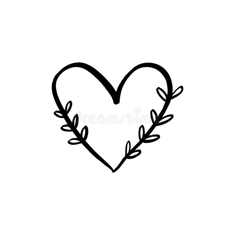 Linha floral clipart minimalistic do vetor do logotipo do cora??o Elemento do projeto para o florista, o florista, os produtos do ilustração royalty free
