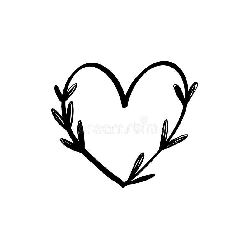 Linha floral clipart minimalistic do vetor do logotipo do cora??o Elemento do projeto para o florista, o florista, os produtos do ilustração stock