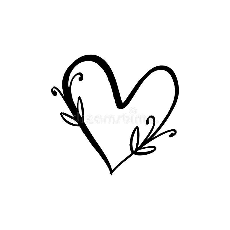 Linha floral clipart minimalistic do vetor do logotipo do cora??o Elemento do projeto para o florista, o florista, os produtos do ilustração do vetor