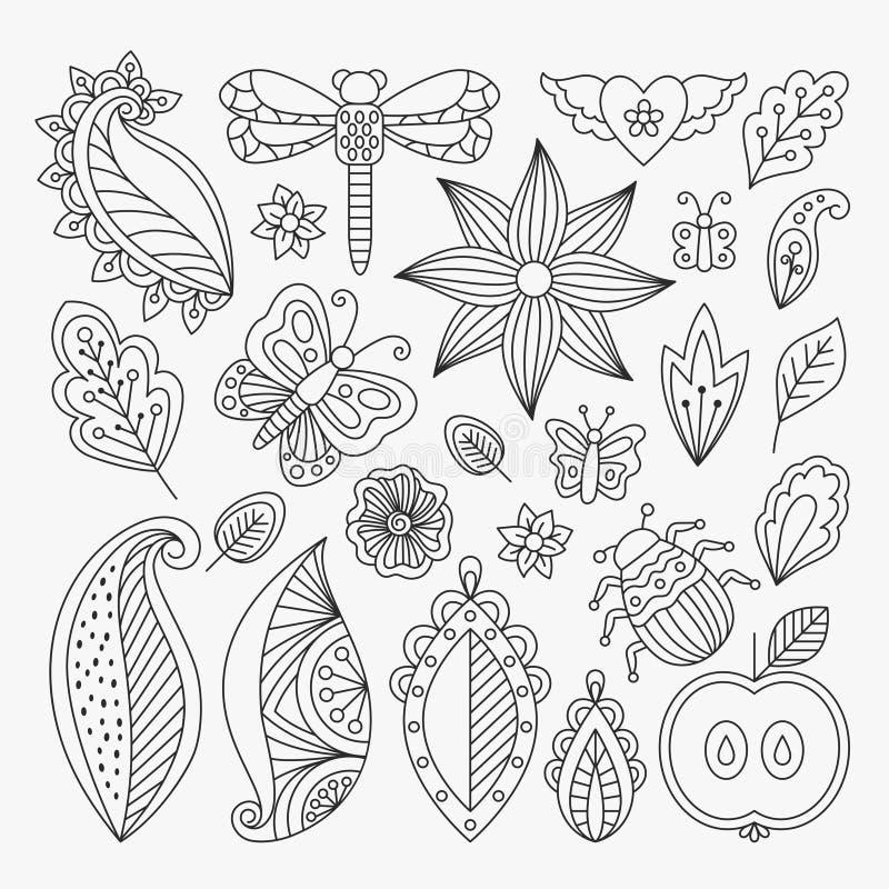 Linha floral grupo de elementos ilustração royalty free