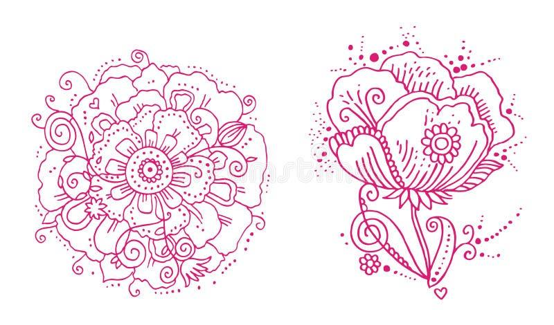 Linha floral projetos ilustração do vetor