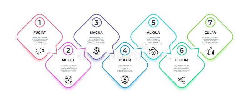 Linha fluxo infographic gráfico quadrado do marco miliário do espaço temporal de 7 etapas, conceito da bandeira da apresentação T ilustração royalty free