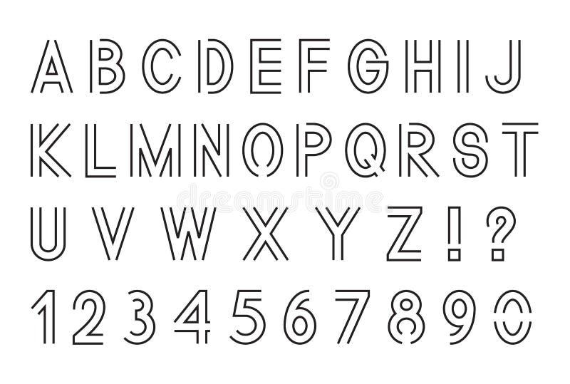 Linha fonte, letras do alfabeto latino com o grupo de números 1, 2, 3, 4, 5, 6, 7, 8, 9, 0, esboçado, preto isolado no fundo bran ilustração do vetor
