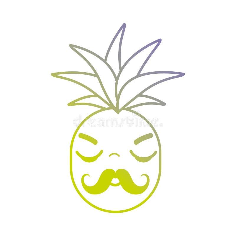 Linha fruto irritado bonito do abacaxi do kawaii ilustração do vetor