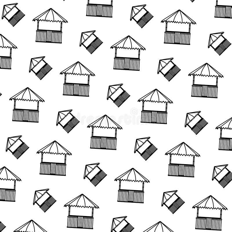 Linha fundo da arquitetura da natureza da cabana da palha ilustração royalty free