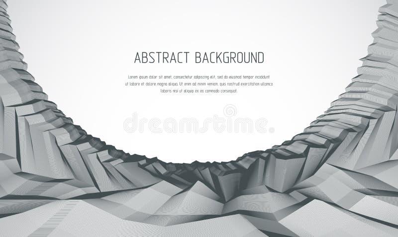 Linha fundo do vetor do sumário da arte 3d com ter linear geométrico ilustração do vetor