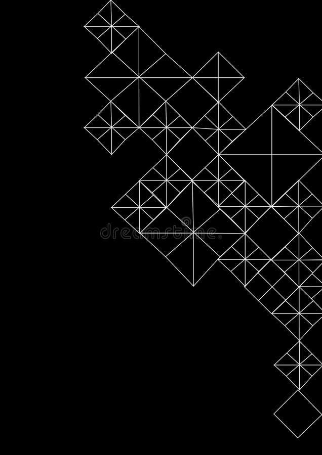 Linha fundo preto e branco geométrico do teste padrão da arte Projeto gráfico da arte moderna ilustração do vetor