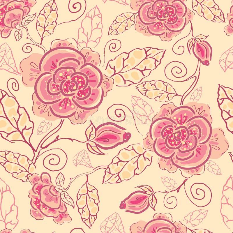 Linha fundo sem emenda do teste padrão das rosas da arte ilustração stock