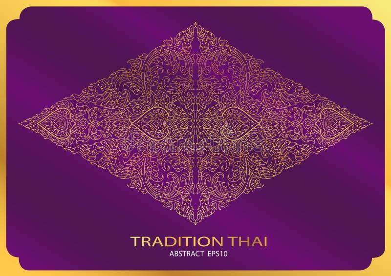 Linha fundo tailandês do sumário da forma do triângulo do teste padrão da tradição ilustração stock