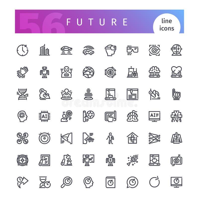 Linha futura ícones ajustados ilustração do vetor