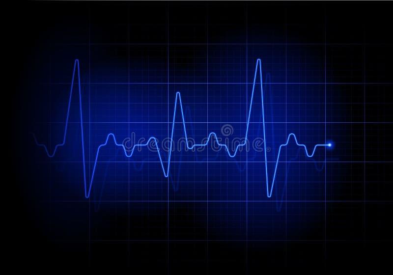 Linha futurista azul da pulsação do coração ilustração stock
