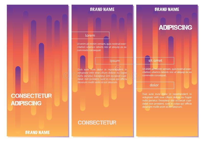 Linha geométrica abstrata fundo do teste padrão para o projeto da tampa do folheto do negócio Cartaz alaranjado, roxo da bandeira ilustração royalty free